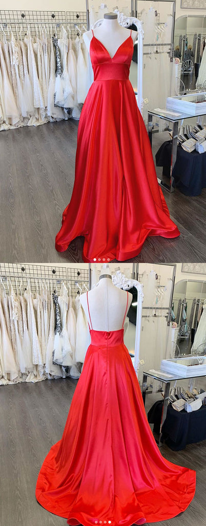 Simple red satin long prom dress red evening dress