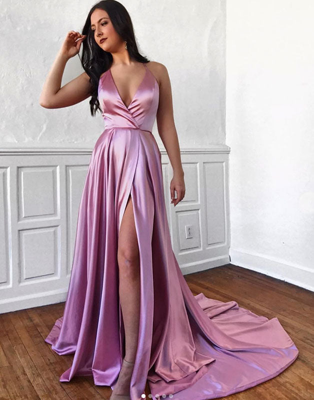 Simple v neck satin long prom dress, formal dress