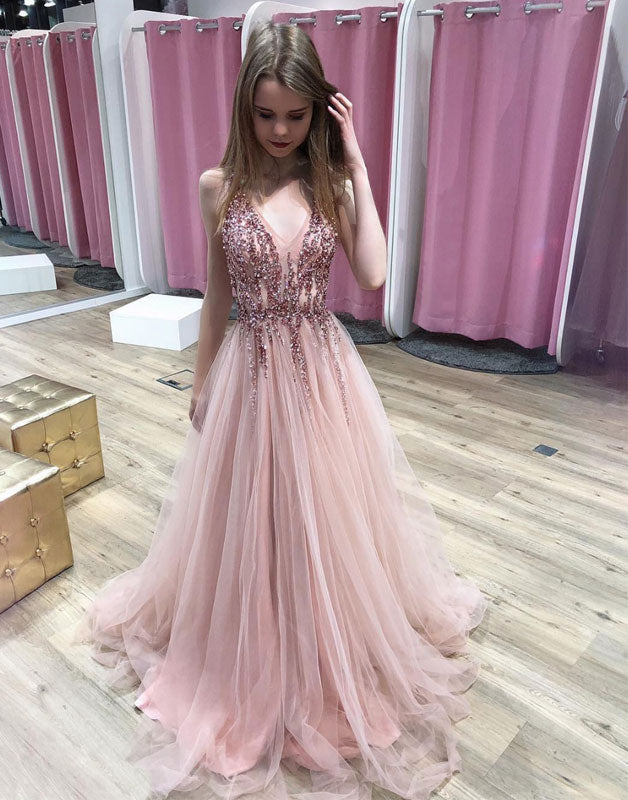 Pink v neck tulle sequin beads long prom dress, pink tulle evening dress