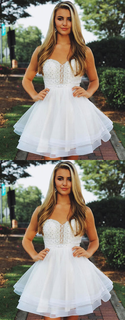 White round neck tulle beads short prom dress, white homecoming dress