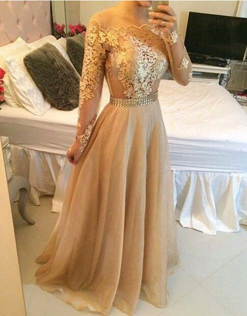 Champagne A-line Lace Long Prom Dress, Formal Dress
