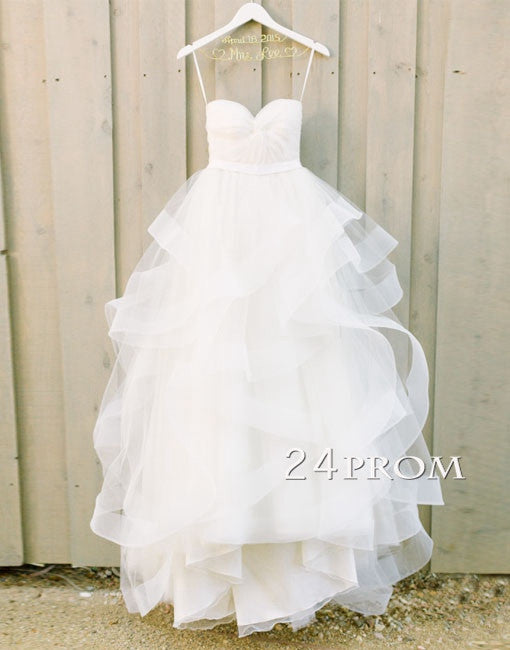 White Sweetheart Tulle Long Wedding Gown,Bridal Dress