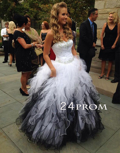 Unique sweetheart neck rhinestone long prom dress, evening dress