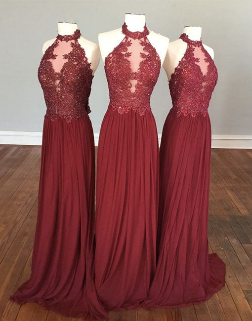 burgundy hight neck lace long prom dress, burgundy evening dress