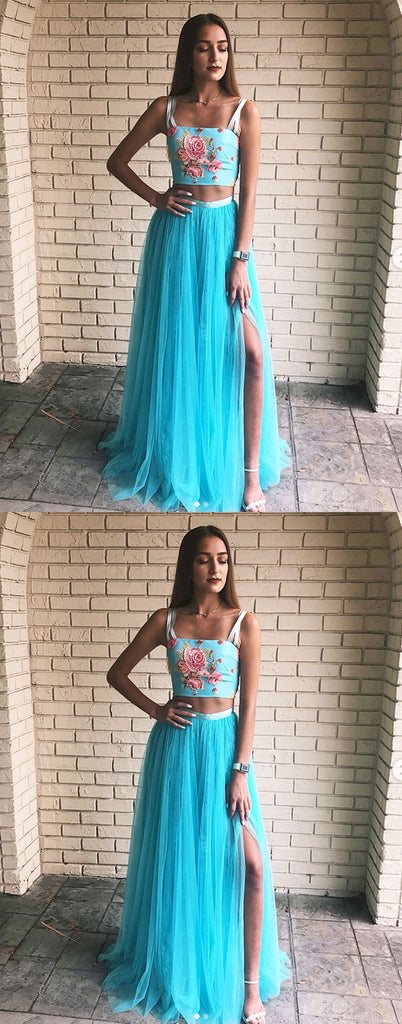 Blue two pieces long prom dress, blue tulle formal dress