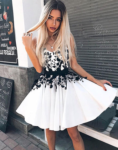 White v neck lace lace short prom dress, white homecoming dress