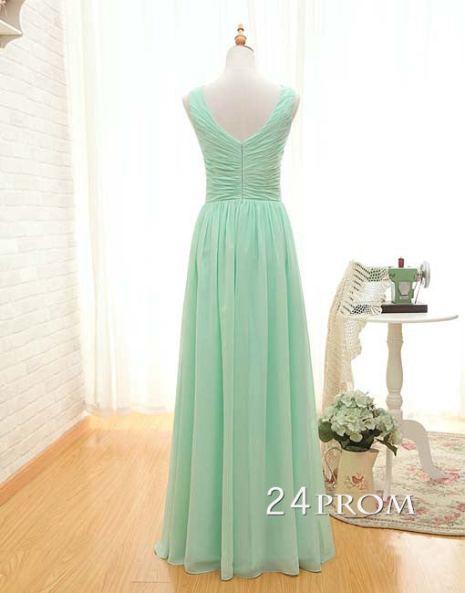Simple A-line Light Green Chiffon Long Prom Dresses, Bridesmaid Dresses