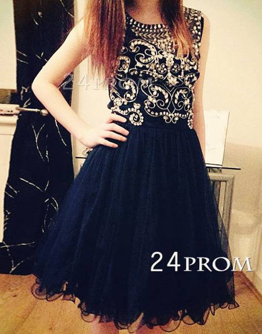 Black Round NeckTulle Short Prom Dress, Homecoming Dress