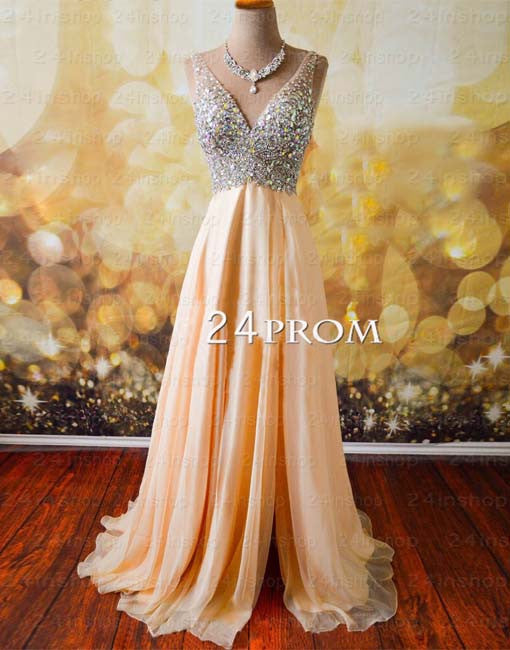 A-line V neckline Chiffon Long Prom Dress, Formal Dresses,Evening Dresses