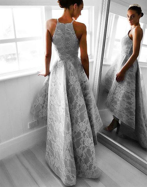 Unique gray lace high low prom dress, gray lace evening dress