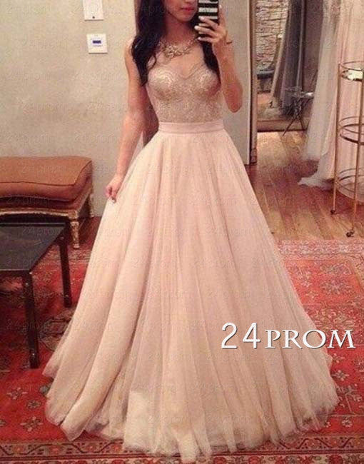 A-line Sweetheart Tulle Sequin Long Prom Dresses, Evening Dresses