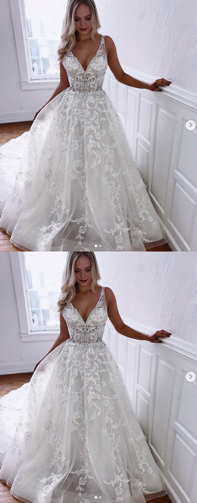 White lace long prom dress, white lace evening dress