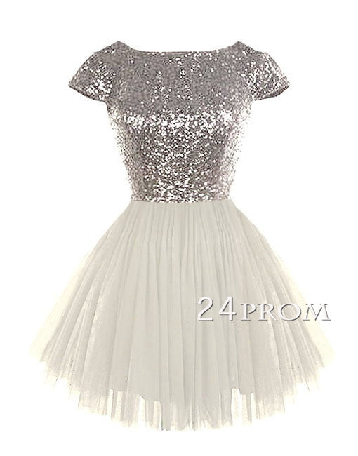 Cute round neckline sequined ivory Short Prom Dress, Homecoming Dress