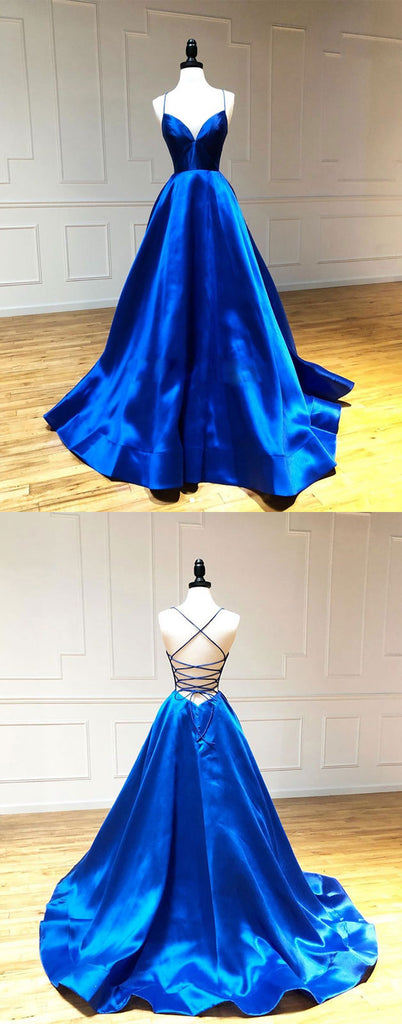Blue sweetheart satin long prom dress blue evening dress
