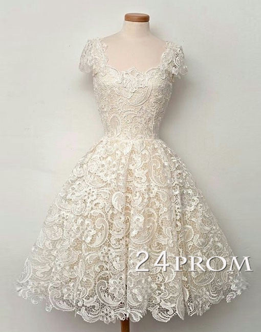 Ivory Cap Sleeves Short Lace Prom Dresses, Wedding Dresses