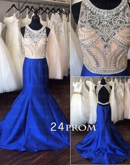 Round neckline beaded A-line Blue Prom Dresses, Evening Dresses