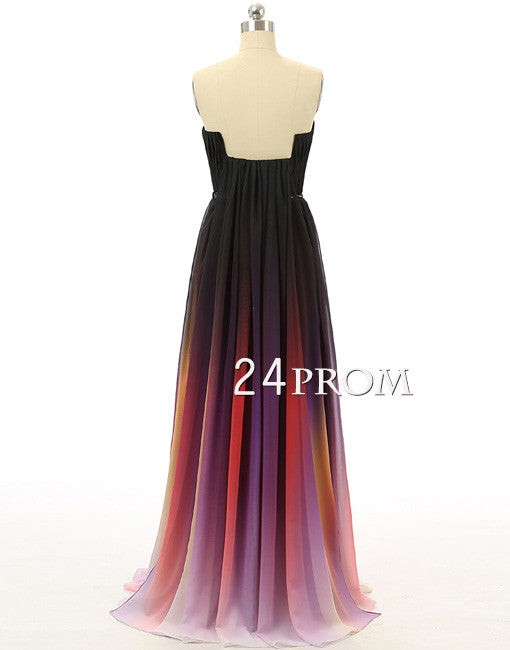 A-line Ombre Colorful Chiffon Sweetheart Long Prom Dress, Evening Dress