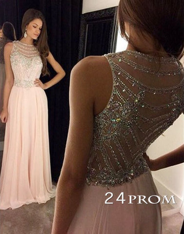 Light Pink Chiffon Sequin Long Prom Dresses, Formal Dresse