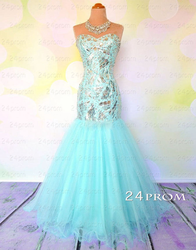Sweetheart A-line Rhinestone Tulle Long Prom Dresses, Evening Dresses