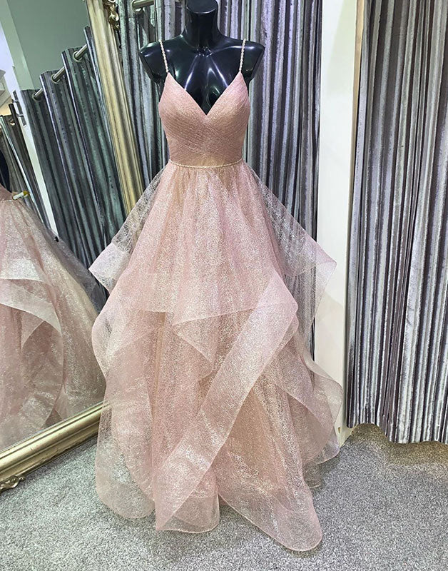 Unique v neck tulle sequin long prom dress tulle formal dress