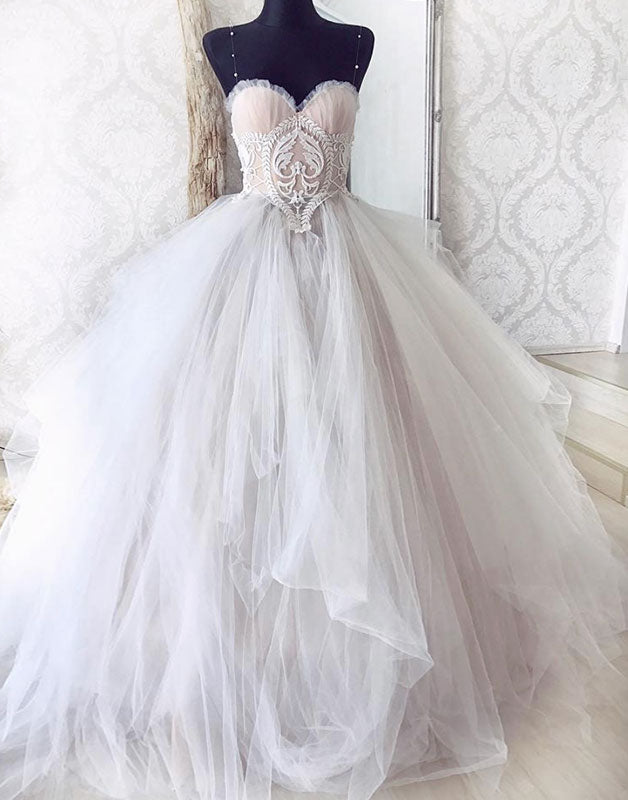 Gray sweetheart tulle lace long prom gown tulle formal dress