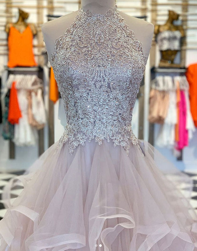 Unique hight neck tulle lace long prom dress tulle formal dress