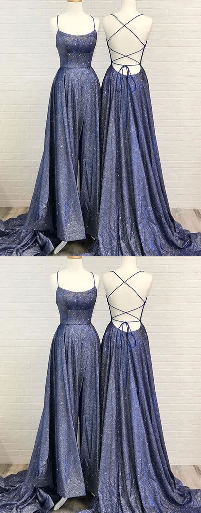 Unique backless long prom dress, blue evening dress