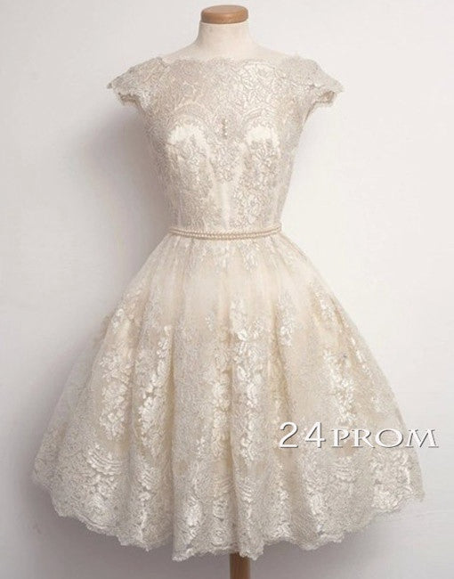 White Ball Gown Lace Short Prom Dresses, Homecoming Dresses