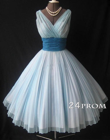 Simple Vintage V Neck Short Prom Dresses, Bridesmaid Dresses