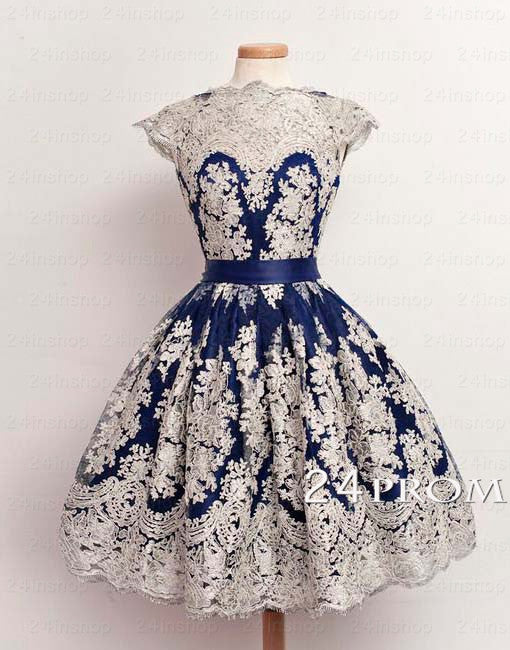 A-line round neckline Lace Short Prom Dresses, Formal Dress