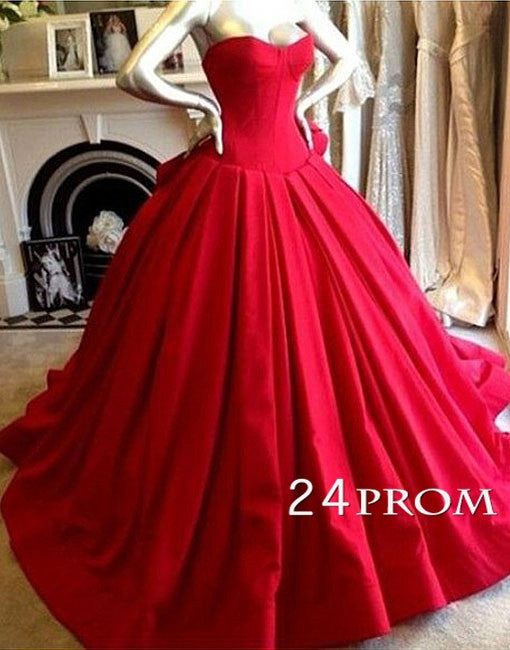 Custom Made Red Sweetheart Prom Gown, Evening Dresses