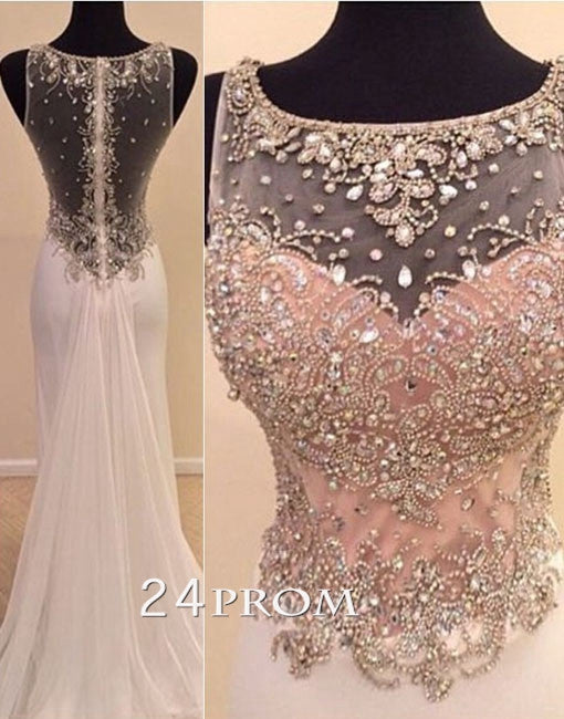 Charming round neckline A-line Chiffon Long Prom Dresses, Formal Dress
