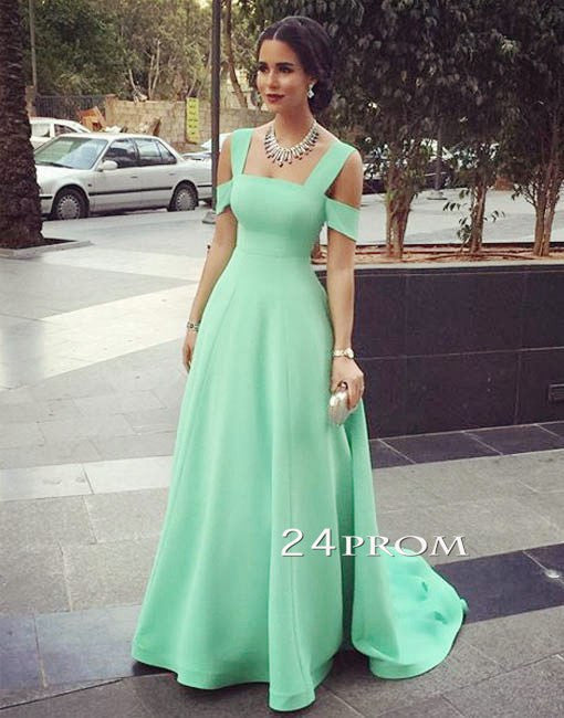 Simple A-line Green Long Prom Dresses, Evening Dress