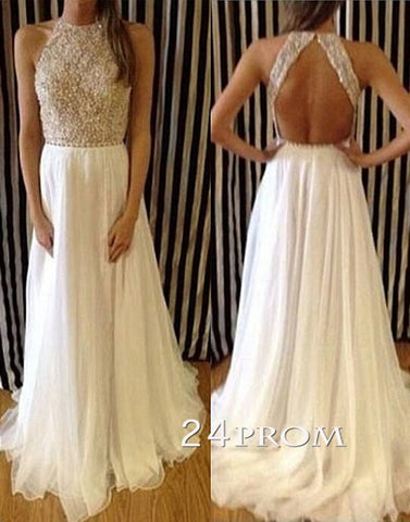 Charming Chiffon White Long Lace Prom Dresses,Evening Dresses