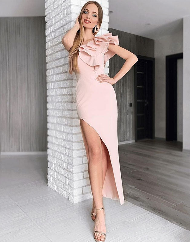 Simple pink mermaid prom dress, pink evening dress