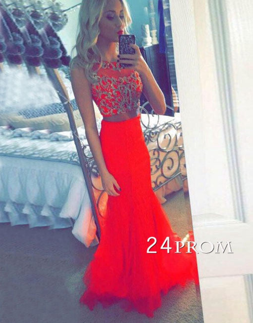 Custom Made A-line Red Chiffon Long Prom Dresses, Evening Dresses