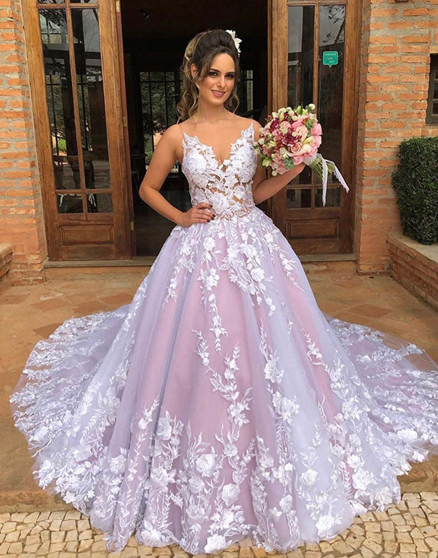 Unique v neck tulle lace long prom dress, tulle lace evening dress