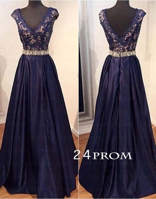 A-line V Neck Lace Long Prom Dresses, Formal Dress