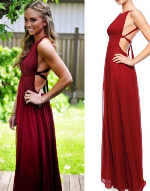 Burgundy simple chiffon prom dress, burgundy evening dress