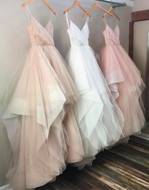 Elegant v neck tulle long prom dress, cute tulle evening dress