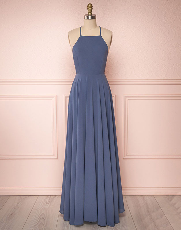 Simple backless chiffon long prom dress, chiffon evening dress
