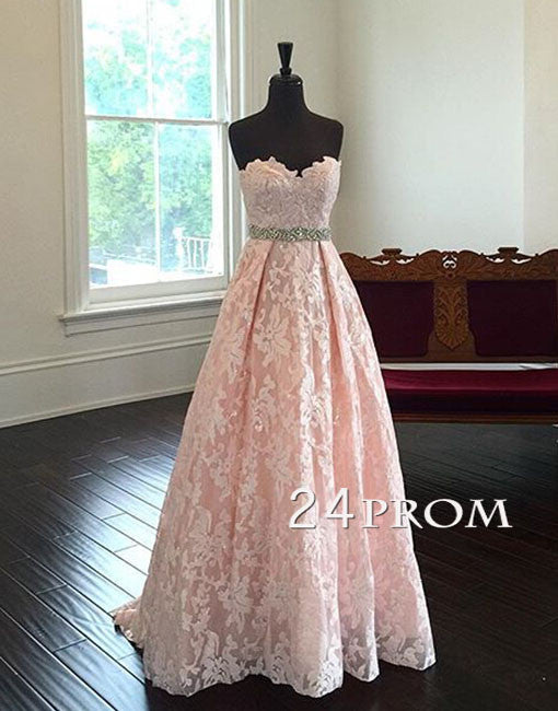 Sweetheart Neck Lace Light Pink Long Prom Dresses, Evening Dresses