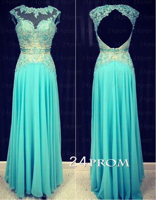 Green A-line Round Neckline Chiffon Lace Long Prom Dresses, Formal Dress