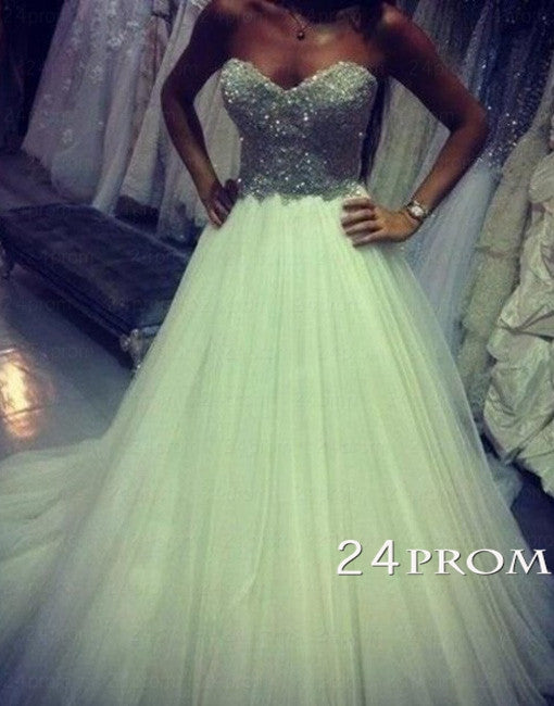 Custom Made A-line Tulle Long Prom Dresses, Evening Dresses