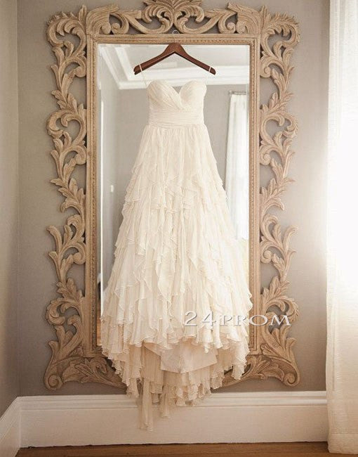 Sweetheart A-line Chiffon Ruffled Long Prom Dresses, Wedding Dresses