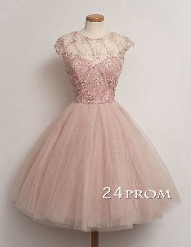 Cute round neckline Cap Sleeves Short Prom Dresses