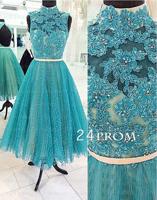 Custom Made Green A-line Lace Tea-length Prom Dress, Formal Dresses