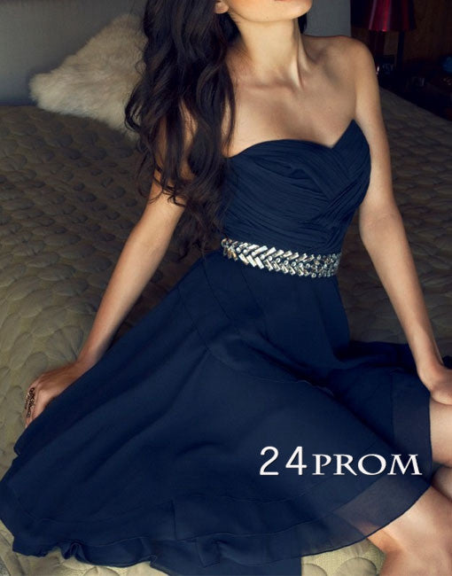 Dark Blue Sweetheart Short Prom Dresses, Homecoming Dresses
