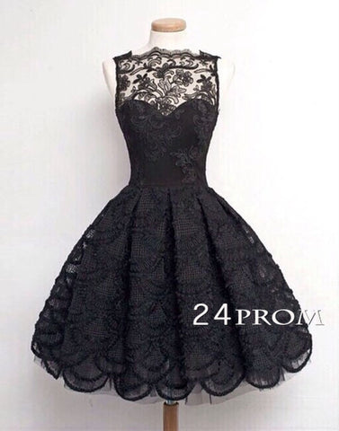 Black A-line Lace Short Prom Dress, Homecoming Dresses