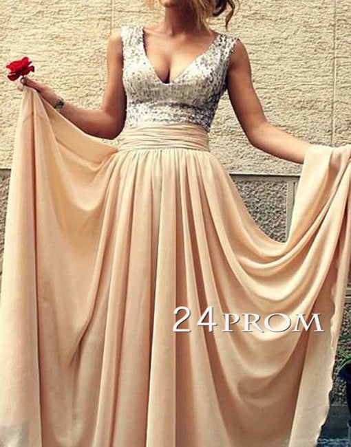 Champagne A-line V neckline Chiffon Long Prom Dresses, Formal Dress